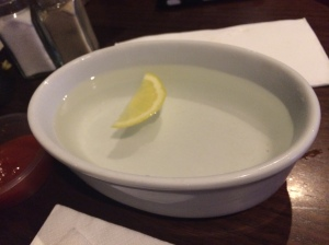 It was hot water and they even floated a lemon in it! Bless.