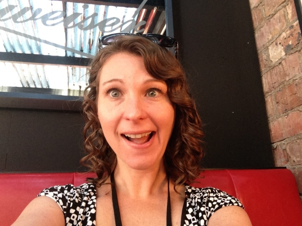 Post burger munching - You Chews founder at her happiest!